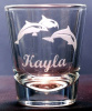 Dolphin Design Engraved Shot Glasses Personalized